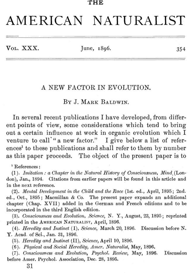 🔖 A New Factor in Evolution by James Mark Baldwin | The American Naturalist: Vol 30, No 354